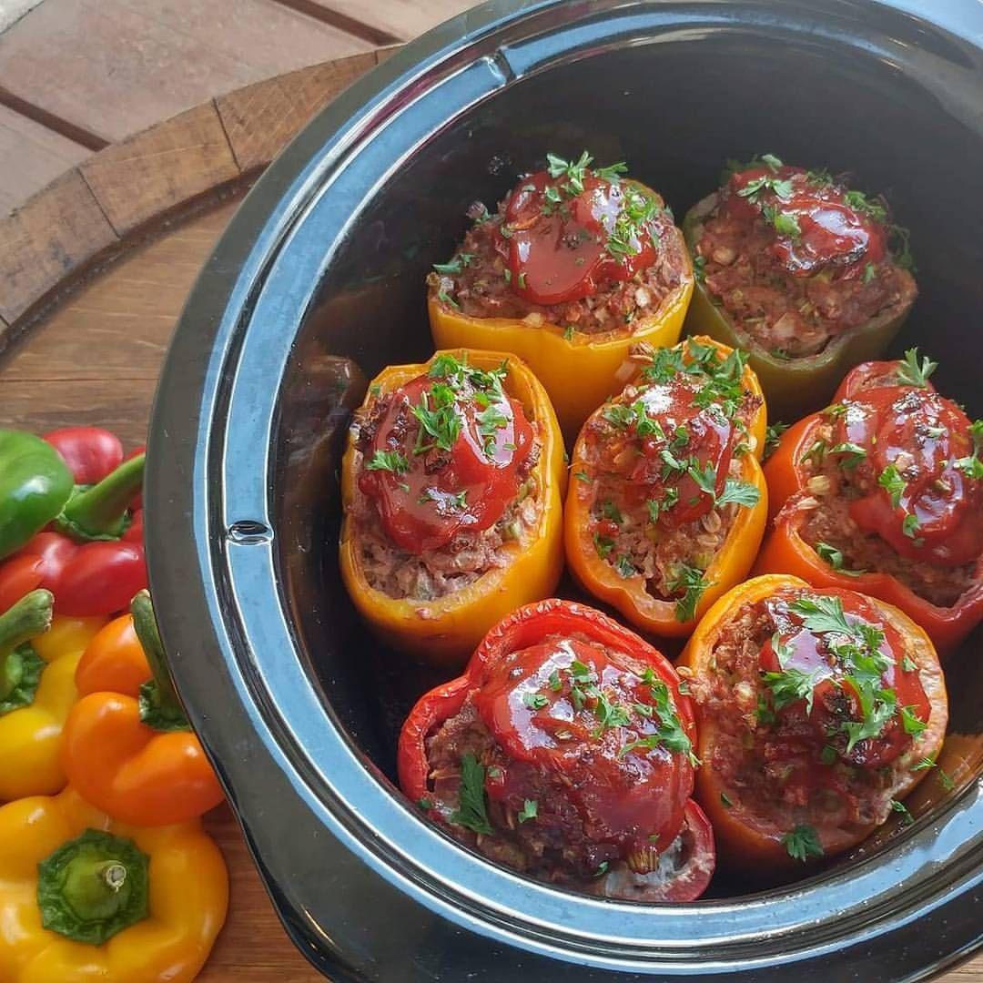 Crockpot Meatloaf Stuffed Peppers Recipe Stuffed Peppers Clean Food Crush Meatloaf Stuffed Peppers