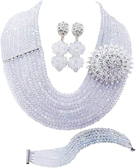 Amazon.com: aczuv 10 Rows Classic Crystal Bridal Jewelry Sets Nigerian Wedding African Beads Jewelry Set (Grey): Jewelry #nigerianischehochzeit