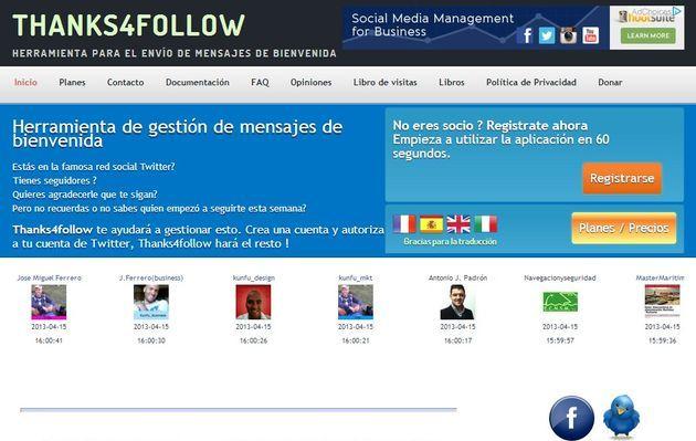 Thanks4Follow, mensajes de bienvenida automatizados para tus nuevos followers de Twitter