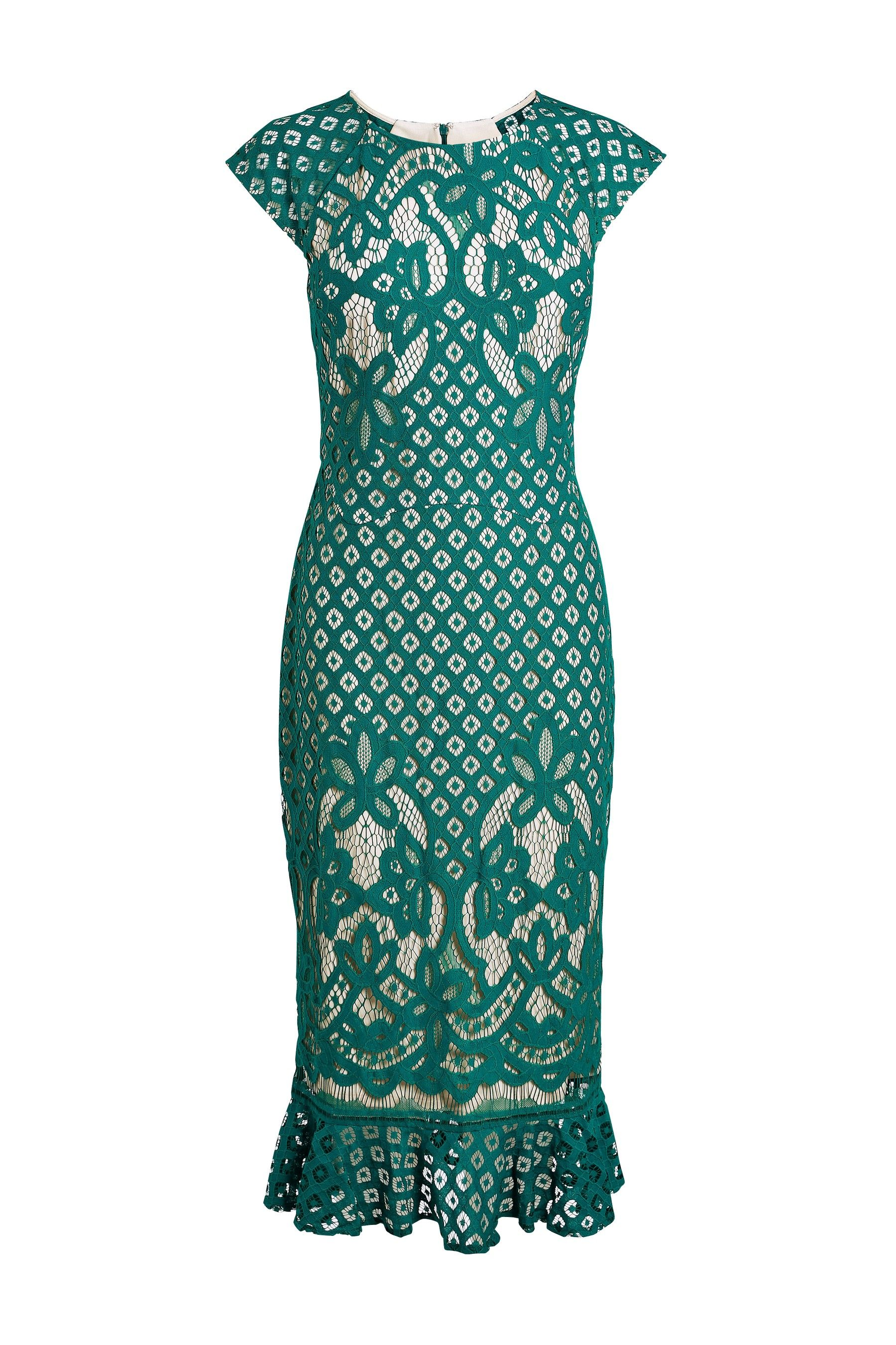 6fcb0e7d880e Womens Next Teal Lace Flute Hem Dress - Green