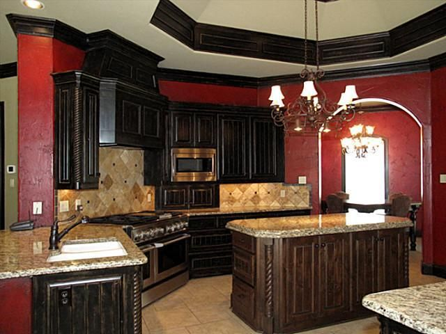Love the red kitchen and dark wood maybe only one red for Dark red kitchen cabinets