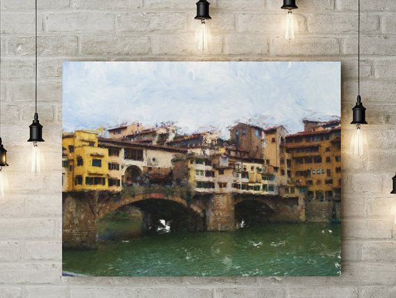 """Ponte Vecchio: Digital Painting, Florence, Italy by Linda Curty, LensLove on Etsy This is a digital oil painting of Ponte Vecchio, the oldest bridge in Florence, which spans the river Arno. It is the only bridge that was not destroyed during WWII. In fact its name literally translates as """"Old Bridge."""" The brightly colored homes and shops line the bridge, giving one a taste of the Old World."""