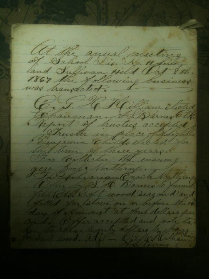 Handwritten school board meeting minutes, 1867 Handwritten