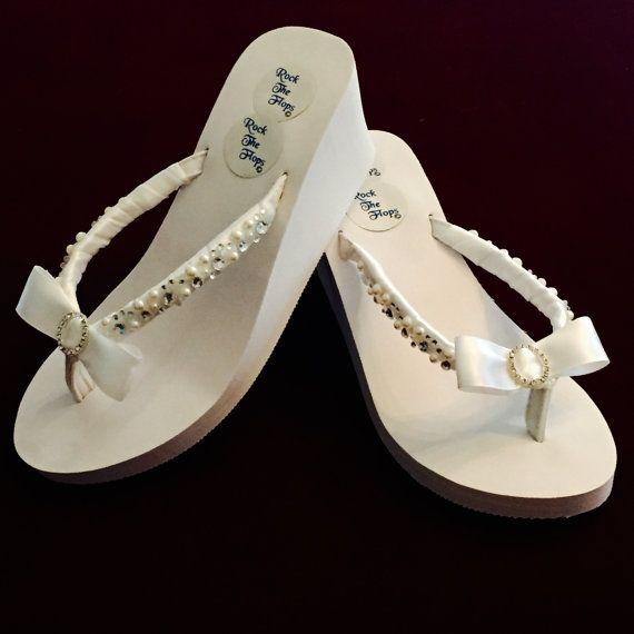 a6f248622 Bridal Flip Flops wedges.Wedding Flip Flops. White Wedding