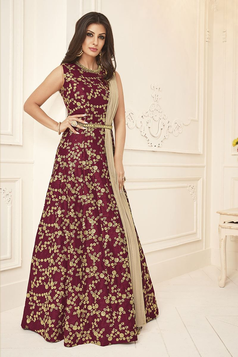 158adcc7f3 Picture of Fetching maroon designer gown with zari. Picture of Fetching  maroon designer gown with zari Silk Anarkali Suits ...