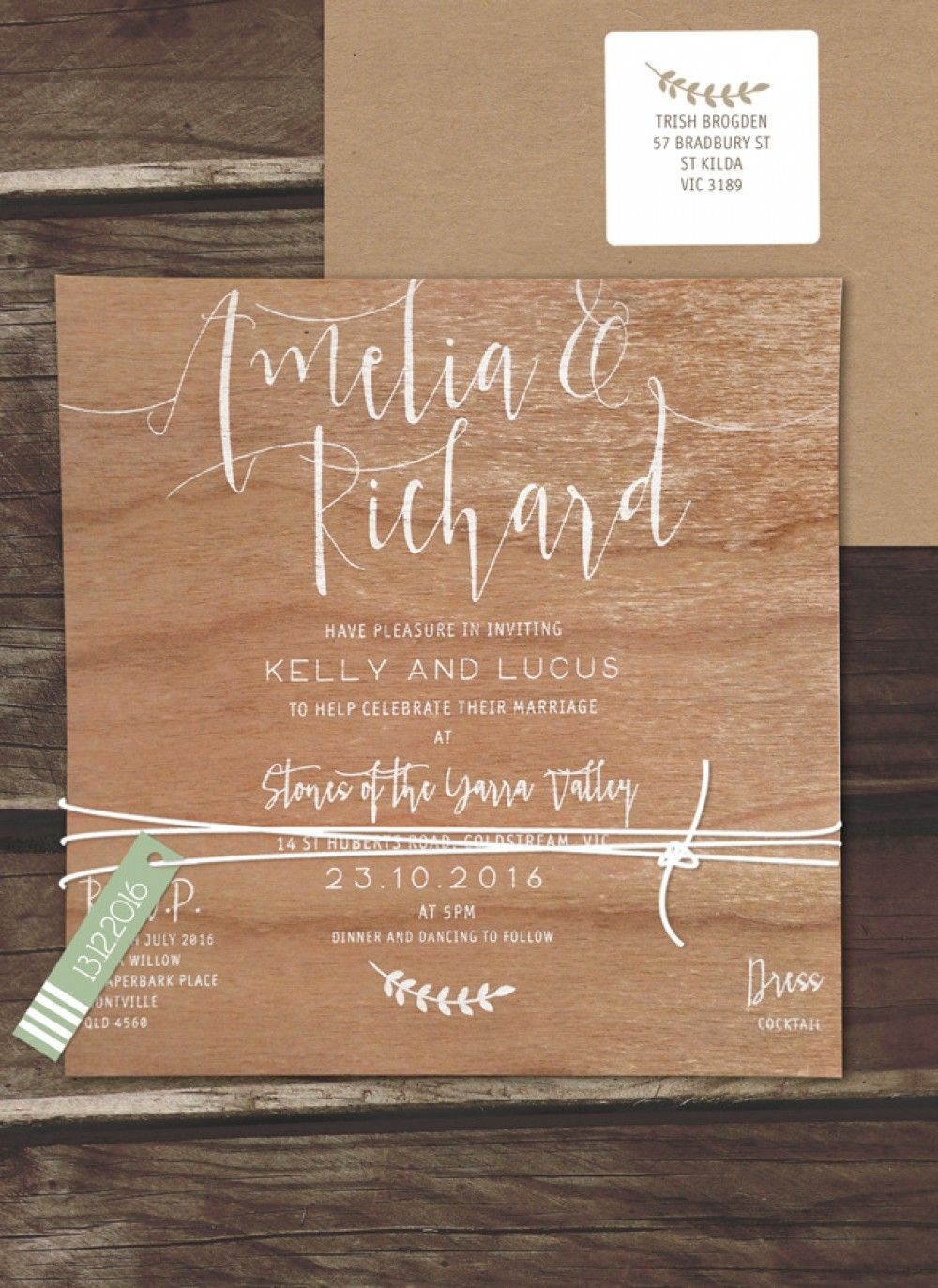 White Ink On Wood Simply Sublime Invitation Online Australia