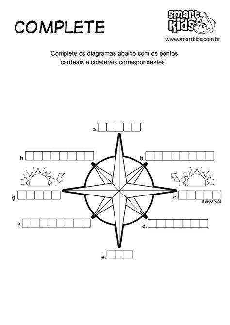 Atividade Pontos Cardeais Complete | 3 ano | Pinterest