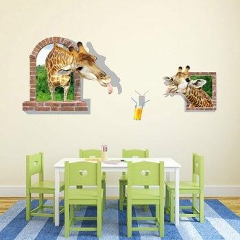 Good Quality Giraffe Drinking Juice Pattern Window Shape Removeable
