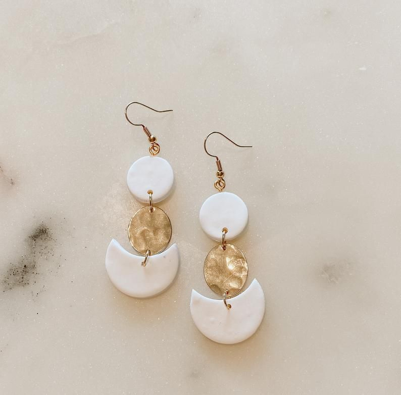 Stone collection Polymer Clay simple earrings Gold Glitter granite Neutral stone white and grey