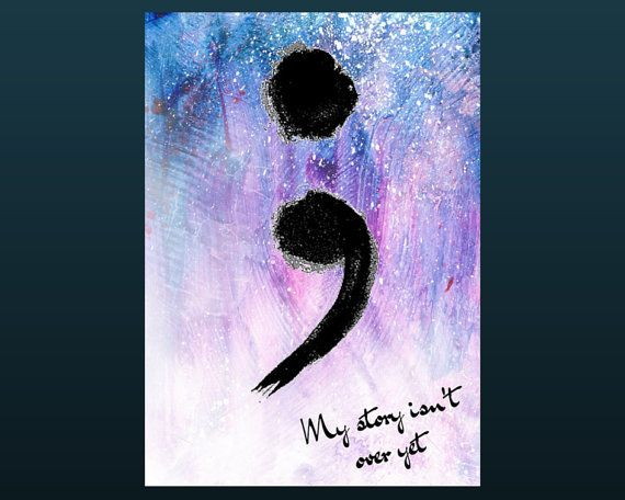 Blue Semi Colon Quote Wall Art Print