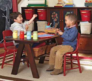 Hudson Trestle Table and Chairs #PotteryBarnKids  Want to try to make this...looks pretty basic to me