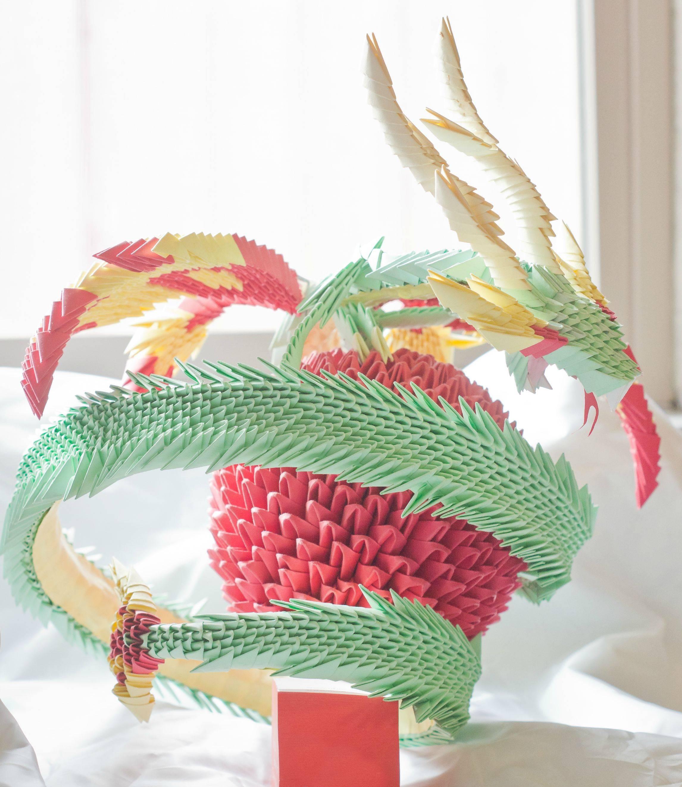 анимированная схема оригами 3d дракона