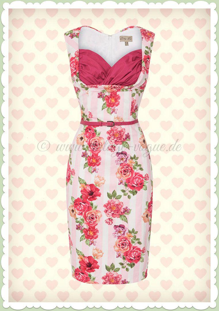 Lindy Bop 50er Jahre Rockabilly Floral Pencil Kleid - Vanessa - Rosa ...