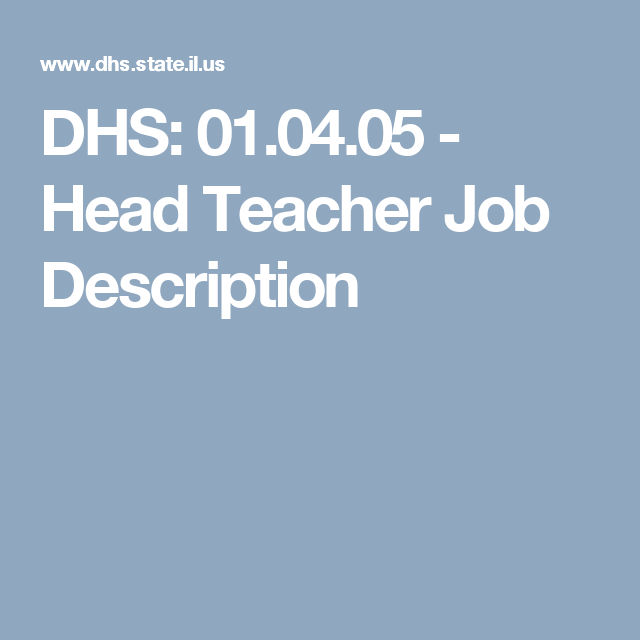 Dhs   Head Teacher Job Description  Lead Teacher