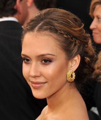 Jessica Alba S Braided Updo Hair Tutorial And It Works For Long Or Short