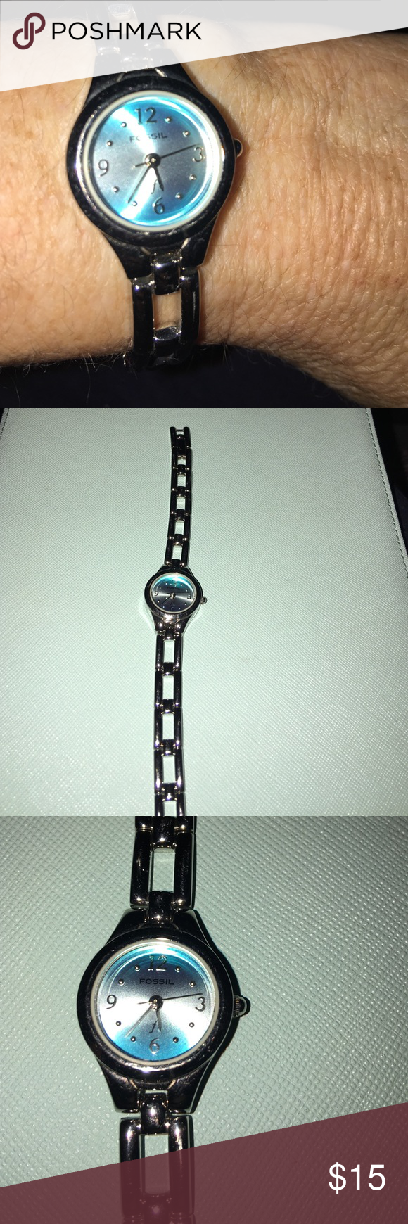Fossil watch with silver band. Fossil watch with silver band. Needs batteries. No Extra links. Fossil Accessories Watches