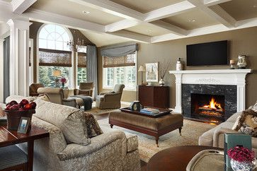 I Like The Three Different But Same Family Colors On The Walls And Ceiling And The Squares On The Beautiful Living Rooms Living Room Furniture Layout Design