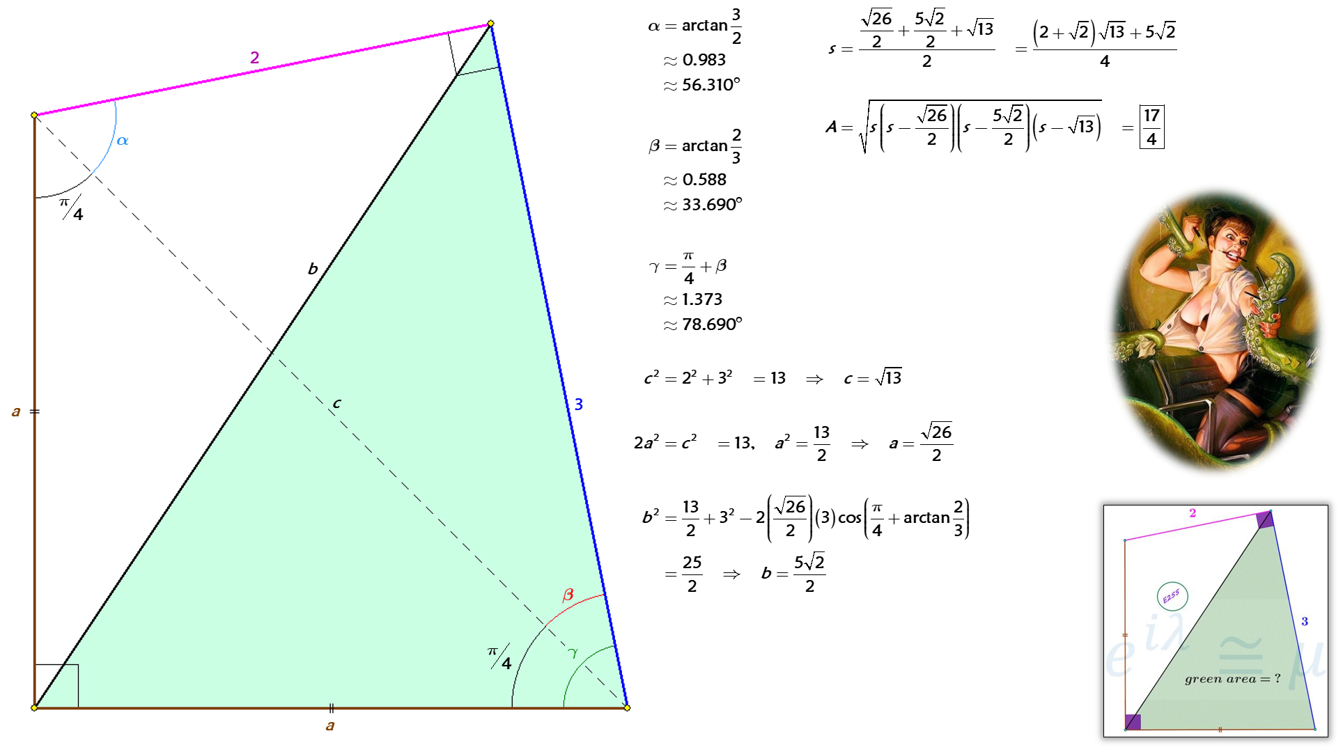 Solved by Pythagorean Theorem, Law of Cosines, and Heron's