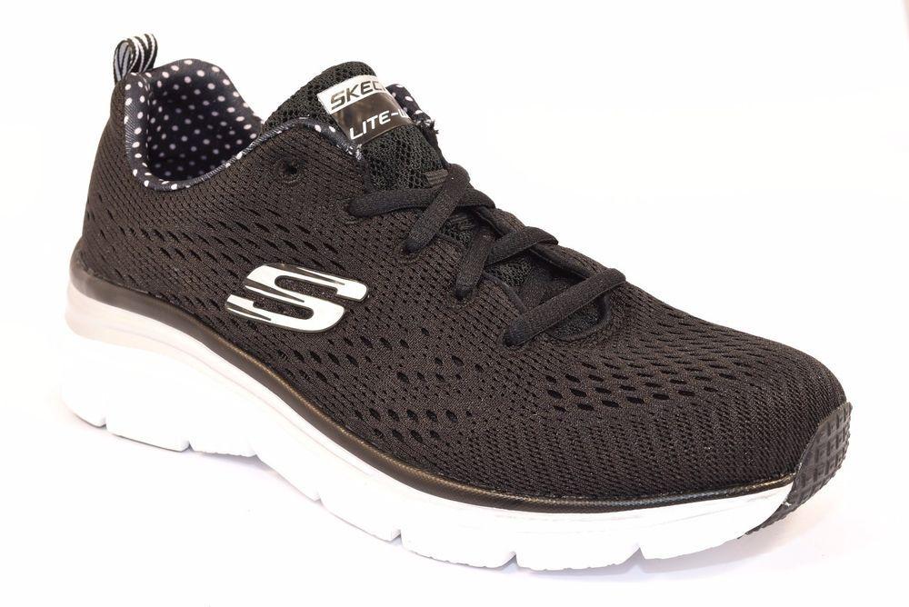 SKECHERS 12702 BKW STATEMENT PIECE NERO BIANCO Donna Sneakers Memory Foam Air