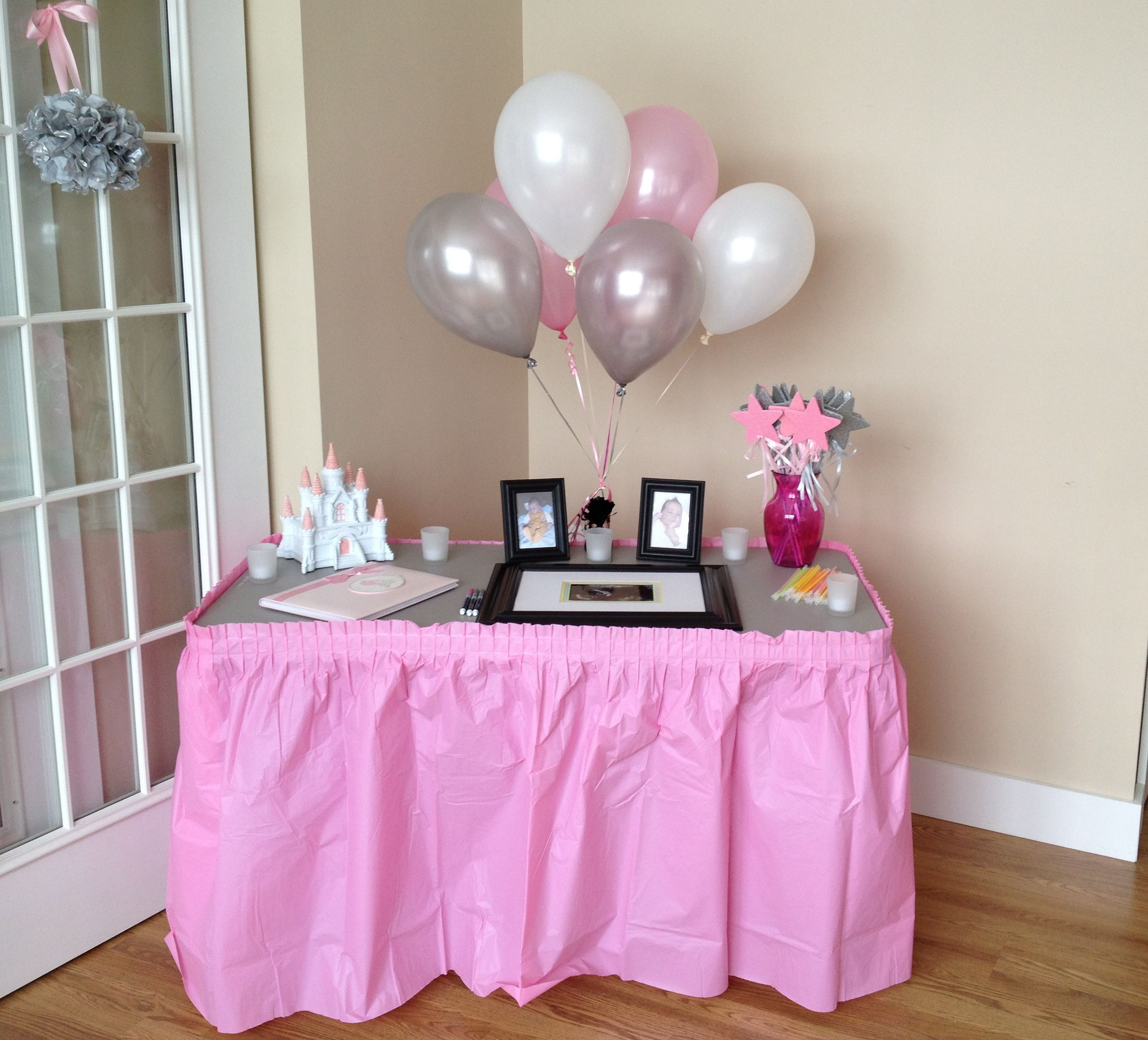 Guest Sign In Table For A Princess Themed Baby Shower