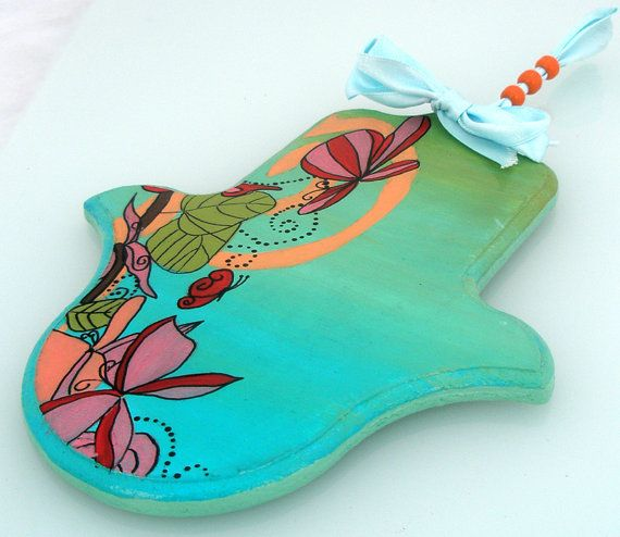 Hamsa  Hand of Fatima  painted butterflyes on paly by Galleros, $22.00   New hamsah
