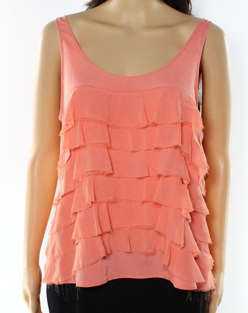 1. State Orange Womens Size Medium M Scoop Neck Tiered Tank Top ...
