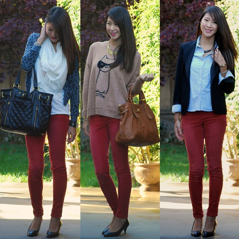 color to wear with cranberry pants | The first look is actually my ...