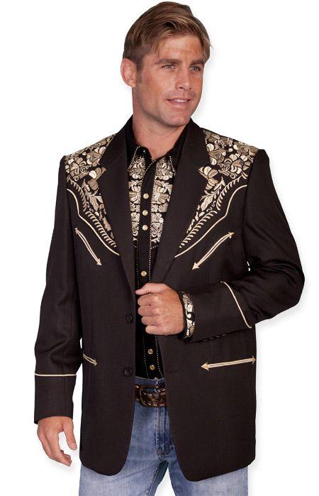 Gunfighter Western Blazer Gold Rockabilly Style Men Cowboy Suit Western Style Outfits