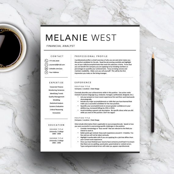 Modern Resume Template for Word  Pages by templatestudio on Etsy