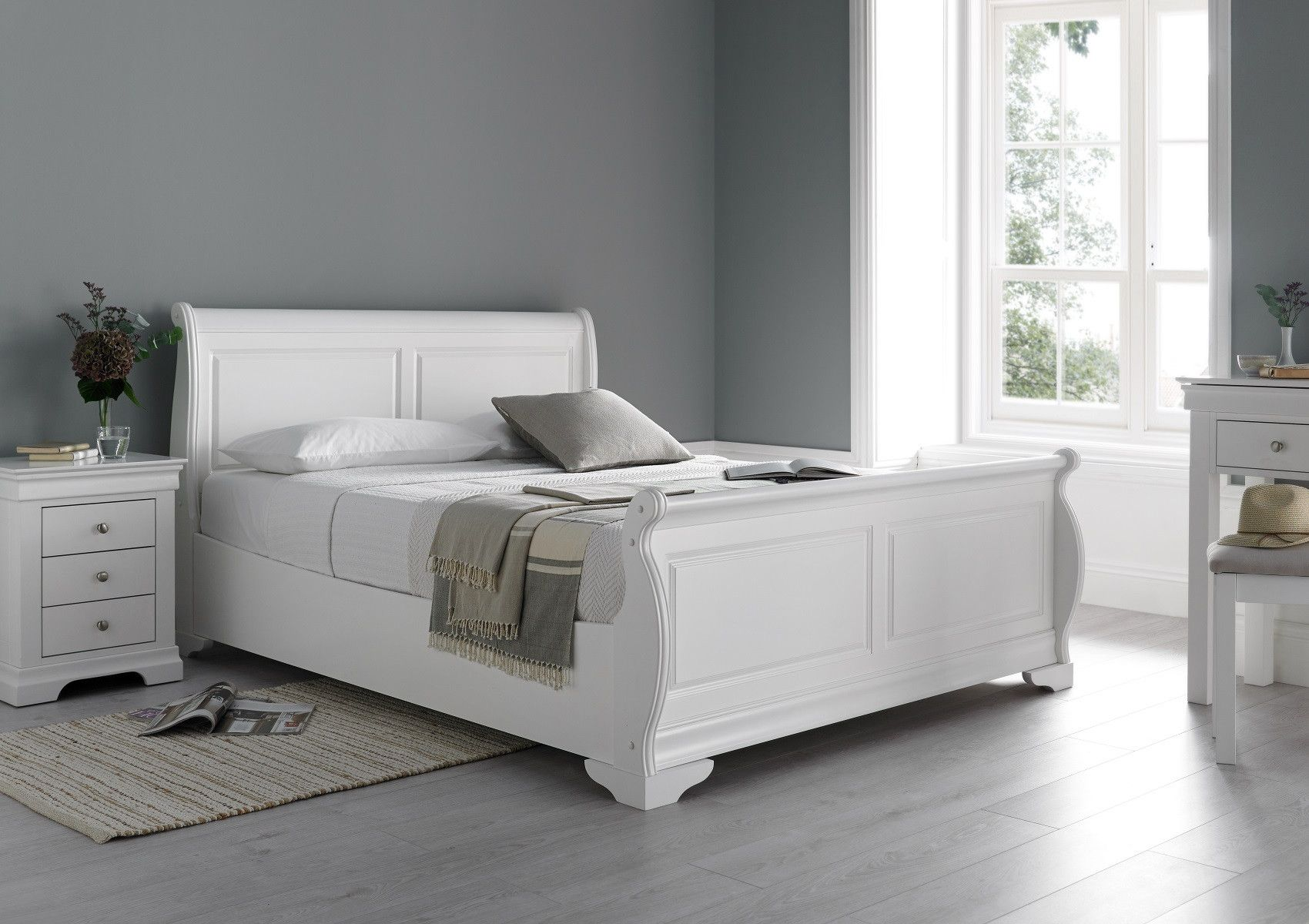 Louie Sleigh Bed - Polar White - NEW  White wooden bed, White bed