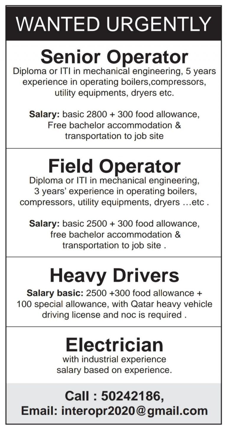 Multiple Openings Qatar in 2020 (With images) Job