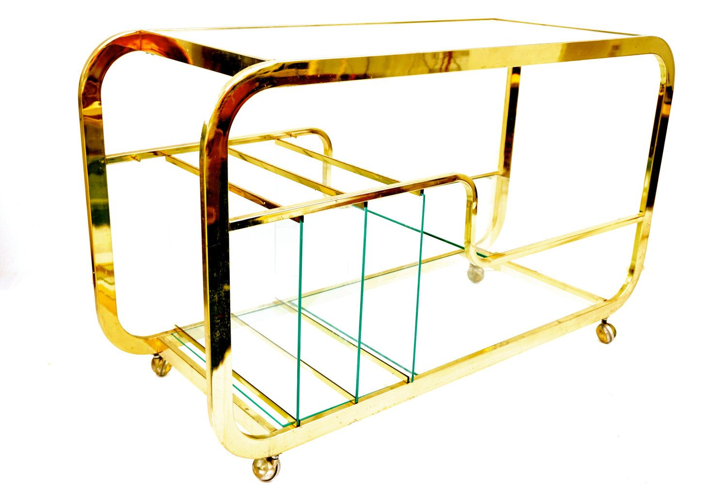 Milo Baughman for DIA Brass & Glass Bar Cart Etagere Console Table || Modern Hollywood Regency Versatile Furniture by ELECTRICmarigold on Etsy