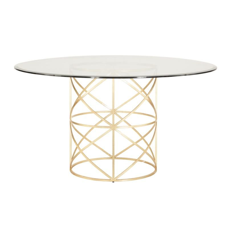 Worlds Away Anderson Dining Table With Gold Leafed 54 Inch