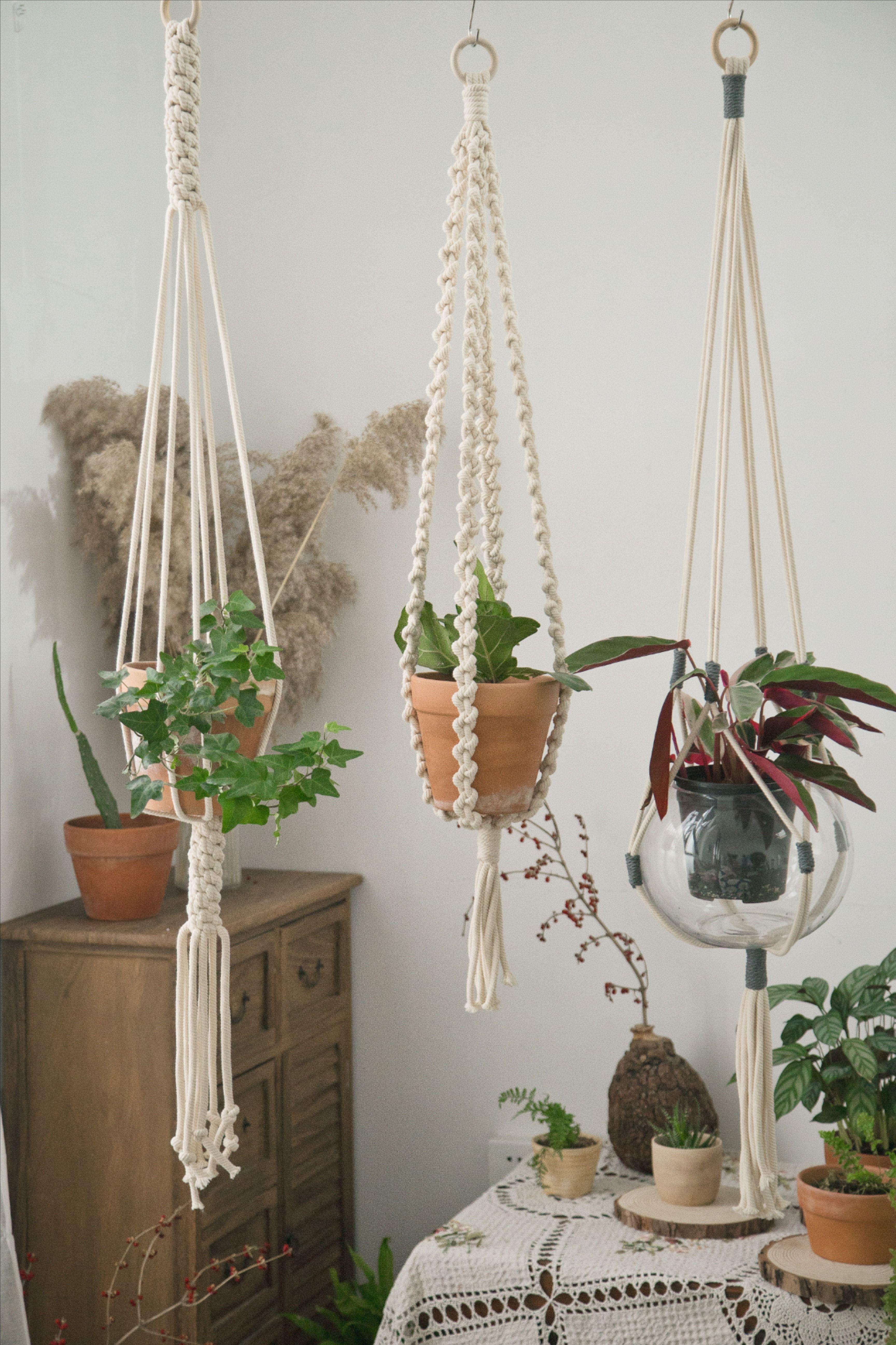 Large Macrame Plant Hanger For High Ceiling Long Hanging Floating