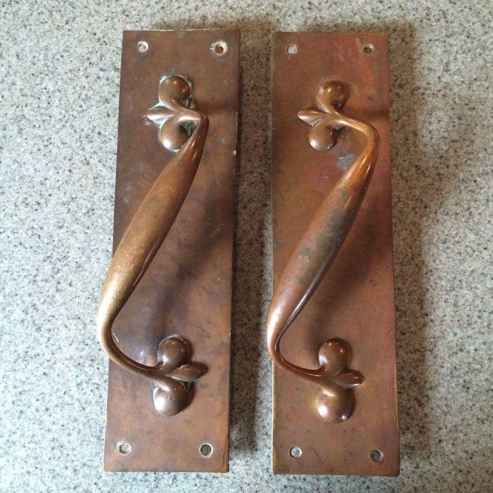 Antique Art Nouveau Door Handle Pull Brass Bronze Copper Push