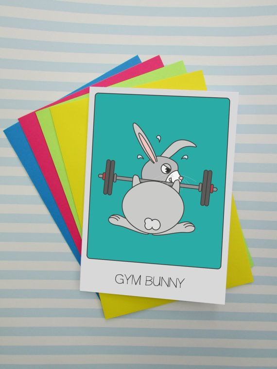 Gym Bunny Puns Work Out Funny Birthday Card by cushobi on Etsy