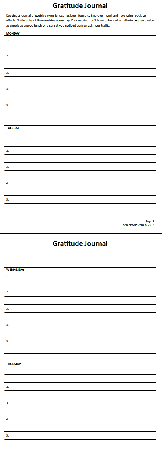 Gratitude Journal Worksheet Therapist Aid Therapy Worksheets Positive Psychology Therapy Counseling