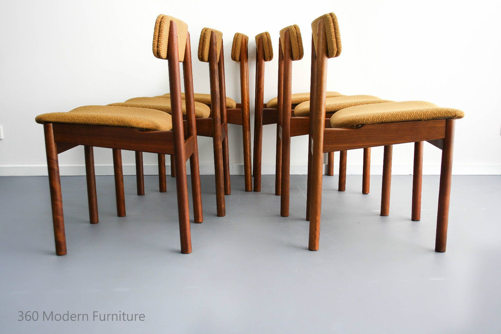 Mid Century Kolter Dining Chairs X6 Vintage Retro Danish Parker Eames Scandi Era In Home