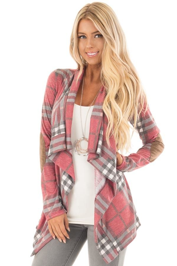 5442c61cda78 Lime Lush Boutique - Wine Plaid Open Cardigan with Suede Elbow Patches
