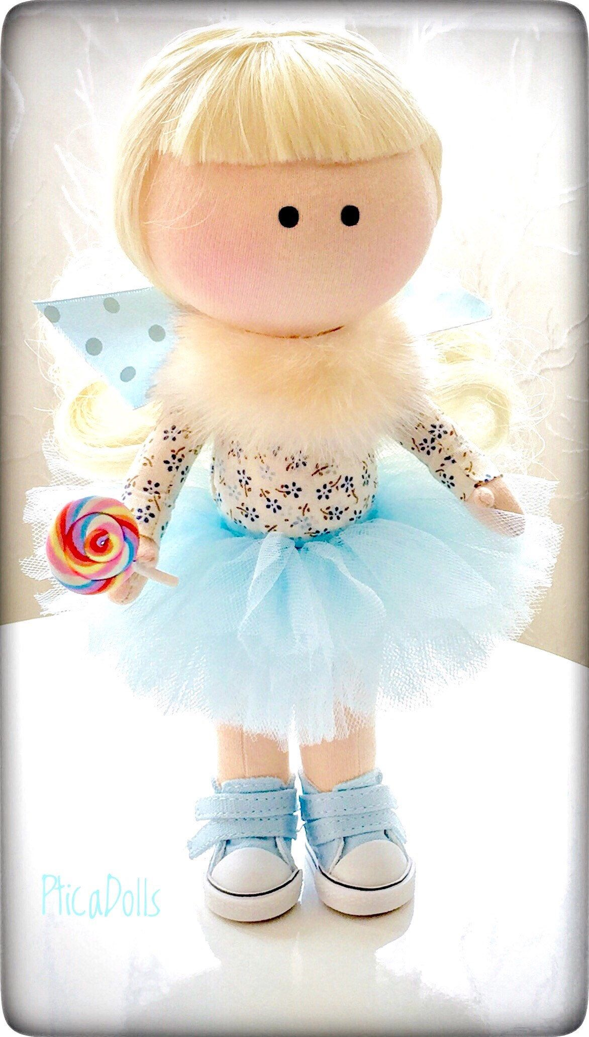 Spring sale Tilda home decor doll Blonde curly haired handmade rag doll Fairy princess sky blue doll with lollipop kawaii chibi totoro toy #dollcare