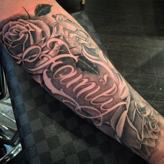Got To Finish This One Up Tonight Roses Family Tattoo Script