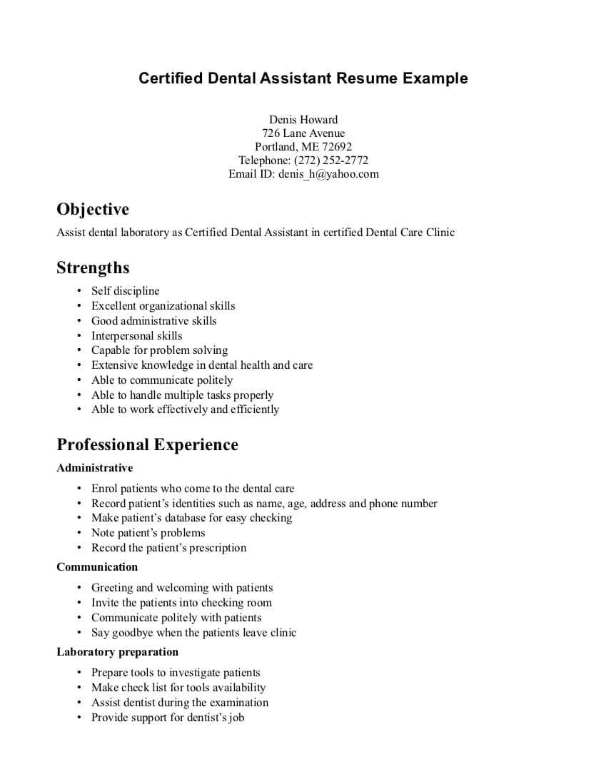 Dental Assistant Skills List Qualifications Resume Objective