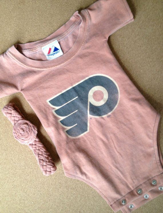 431a6e70 Up-Cycled NHL Philadelphia Flyers T-Shirt Onesie With Headband on ...