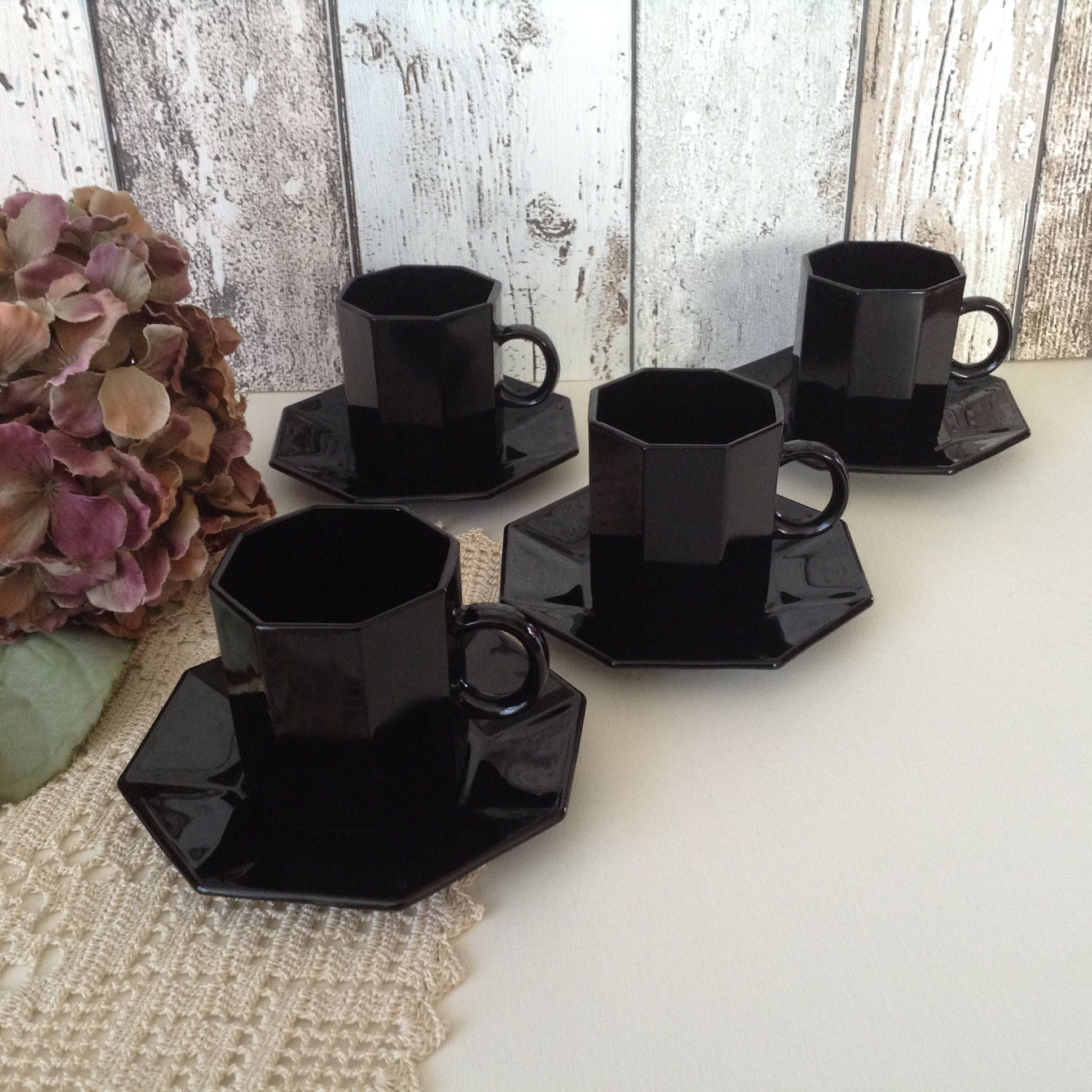 French milk glass espresso cups set of 4 arcoroc octime