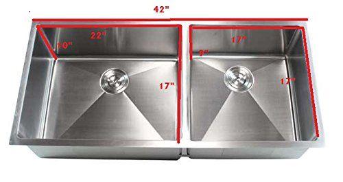 Ariel 42 Inch Stainless Steel Undermount Double Bowl Kitchen Sink 15mm Undermount Kitchen Sinks Double Bowl Undermount Kitchen Sink Double Bowl Kitchen Sink