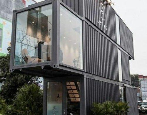 minimalistisch container haus design grau fassade metall fenster pflanzen kbel - Buro Zu Hause Mit Seestuckunglaubliche Bild