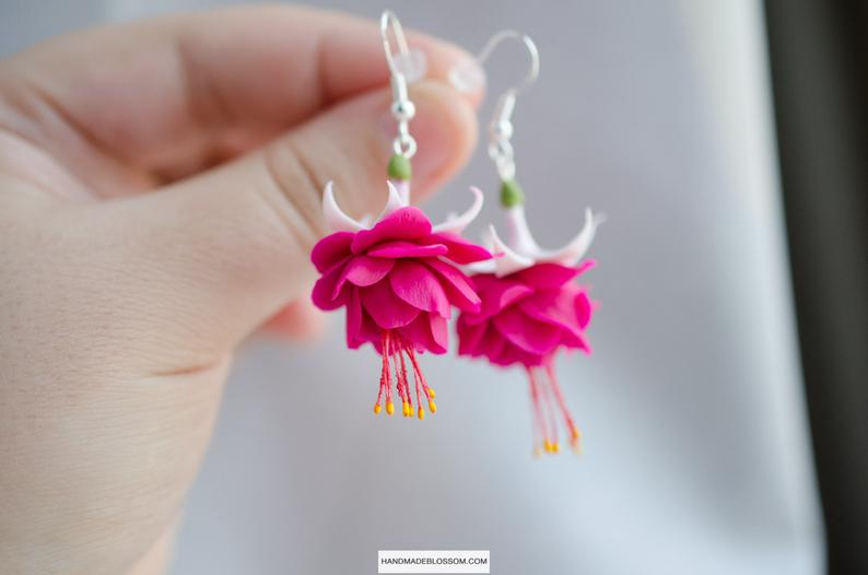 Pink Fuchsia Earrings Dangle Fuchsia Flower Jewelry Magenta Etsy Flower Jewellery Flower Studs Fuchsia Flower