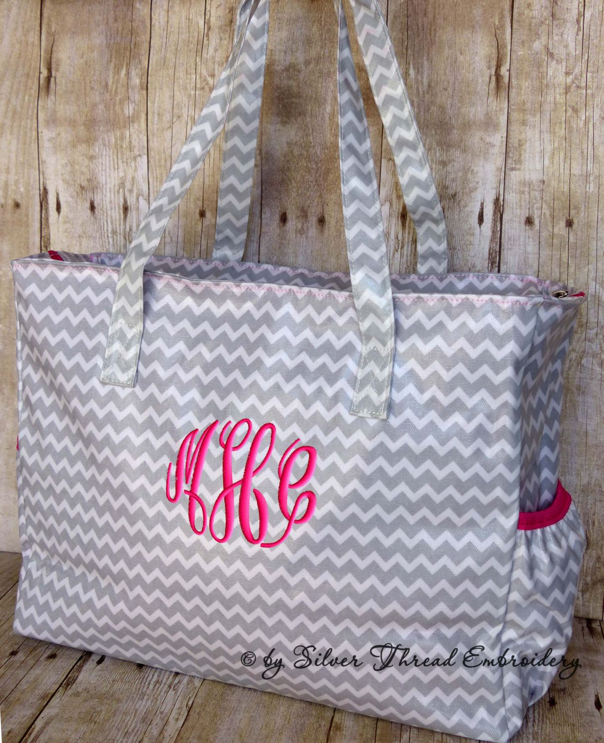 Personalized Diaper Bag Chevron Gray Hot Pink By Parsik93 On Etsy 41 99 Bolsas Bebe