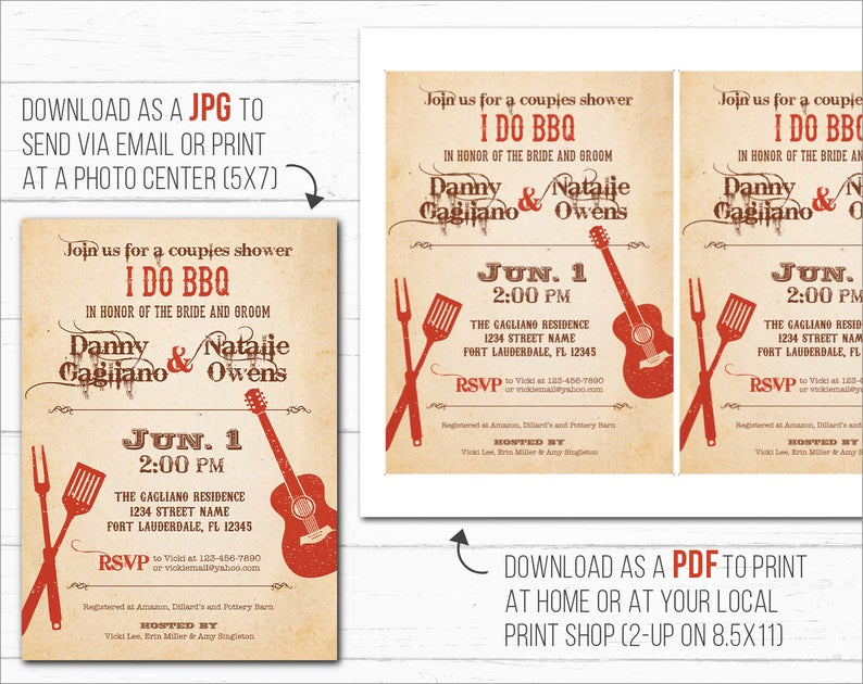 I Do BBQ Invitations, Couples Shower, Engagement Party