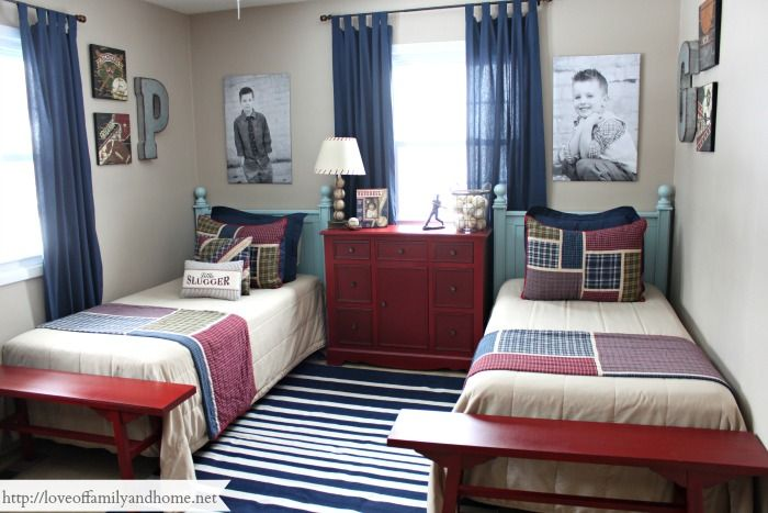 Shared Boys Geometrical Bedroom: Boys Shared Industrial Sports Themed Bedroom.